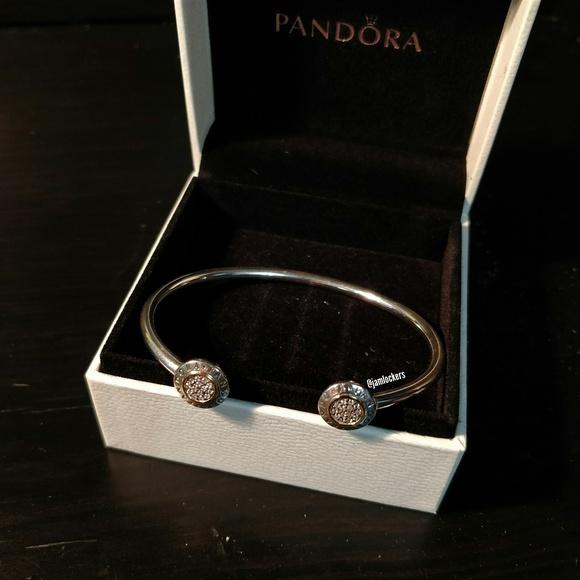 7b9c3828053 PANDORA Signature Open Bangle Bracelet NWT